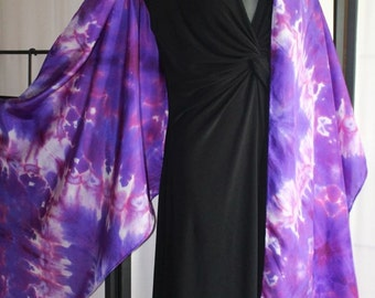 22x90 Purple, Pink, and White Silk Scarf