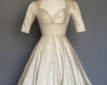 Champagne Silk Dupion Bustier Wedding Dress with Circle Skirt - Made by Dig For Victory