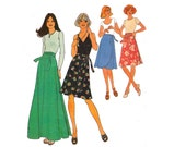 Simplicity 7352 70s Womens Wrap Maxi Midi Skirt Vintage Sewing Pattern Boho Hippie Style Size 14 Waist 28 inches