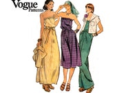 70s Vogue 9540 Strapless Dress Jumpsuit & Cropped Jacket Vintage Sewing Pattern Size 10 Bust 32.5 inches