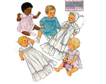 Baby Dress Bonnet Smocked Christening Gown Pattern Style 3654 80s Vintage Sewing Pattern Size 6 months