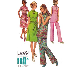 70s Mod High Neck Dress Tunic Pants Pattern Half Size Simplicity 9381 Size 20 1/2 Bust 43 inches