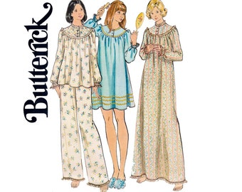 70 Pajamas Nightgown Pattern Butterick 3960 Vintage Sewing pattern Size MEDIUM Bust 34 - 36 inches UNCUT Factory Folds