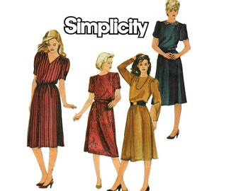 80s Simplicity 6619 Straight Dress Vintage Sewing Pattern Size 10 12 14 UNCUT Factory Folds
