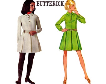60s NORMA TULLO Mod Designer Dress pattern Butterick 5387 Pleated Skirt Collar Mod Dress Vintage Sewing pattern Size 12 Bust 34 inches