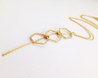 Gold Hexagon Necklace, Modern Necklace, Modern Jewelry