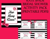 Kate Spade Bridal Shower 2 Printables | Activities | PDF | Black and White Stripe | Pink and Roses | Bride and Groom