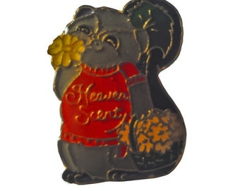 HEAVEN SCENT cute vintage enamel pin 1980s skunk flowers Shirt Tales
