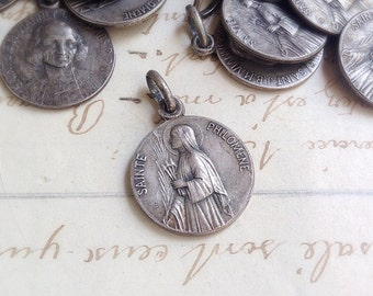 One (1) Vintage or Antique Religious French Silver Medal Saint Philomene & Saint J.B.M. Vianney - Collectable Assemblage Jewellery Supplies