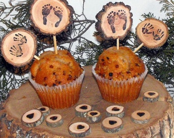 Baby Handprint & foot print CupCake Topper, Woodland baby shower Decorations,