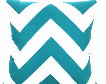 Turquoise Chevron Pillow Covers, Decorative Throw Pillow, Cushions, True Turquoise White Large Chevron Zig Zag Zippy, One or More ALL SIZES
