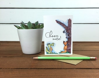 Cheers Mate Thank You Note Card Set, Australia Animals Note Card Set, Kangaroo, Koala Card, Koala Bear, Alligator - Boxed Set of 8 Cards