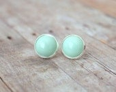 S P R I N G - Mint Spring Green Color Cab, Silver Plated Stud Earrings, 12mm