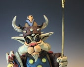 Viking Cat Stoneware Sculpture by Rex Benson (Free Shipping)