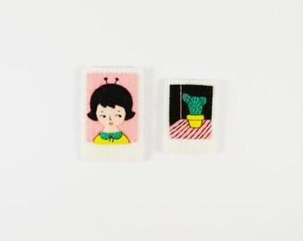 Mini Polaroid Pictures / Outer Space Girl Polaroid Photo / Cactus Polaroid Picture Brooch / Pocket Photo / Felt Polaroid Brooch