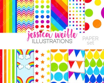 Rainbow Pretty Cute Digital Papers for Commercial or Personal Use, Rainbow Patterns, Rainbow Backgrounds