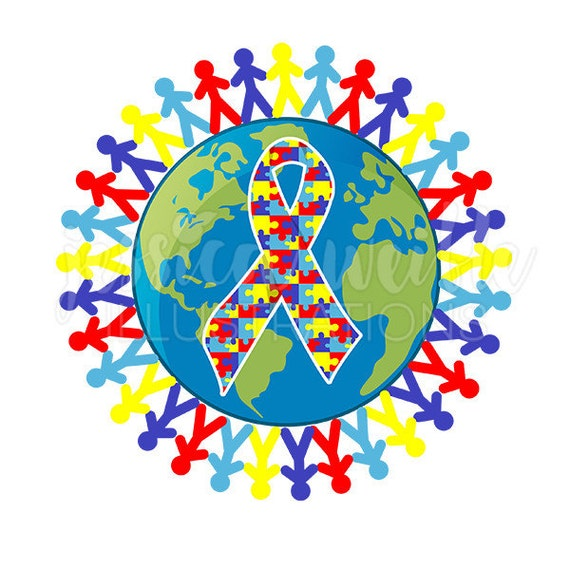 Autism Awareness Art Posters Framed Artwork: Autism Awareness Earth Cute Digital Clipart Austism Awareness