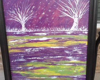 """Original Framed Acrylic Abstract Purple Painting """" First October Snow"""" Home Decor  Wall Art"""