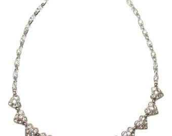 1960s Bogoff Pave Heart Silvertone Choker Necklace