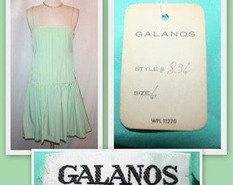 Galanos 1960s Deadstock/Pale Mint Green Silk/Drop Waist/Pleated Bodice/Vintage Cocktail Dress