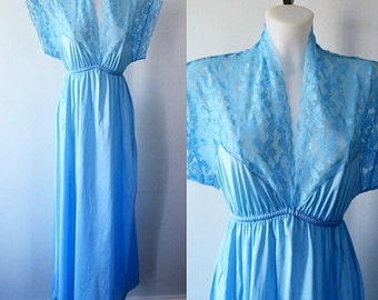 Vintage Blue Nightgown, 1970s Nightgown, Vintage Nightgown, Romantic, Blue Nightgown, Nightgowns