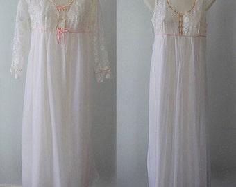Vintage French Maid White Chiffon Peignoir Set, Peignoir Set, Romantic, Wedding, White Chiffon Peignoir, Vintage French Maid