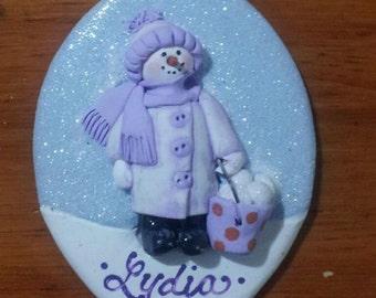 Bucket of snowballs ~ hand sculpted polymer clay snowman ornament