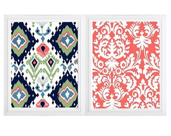 Ikat Print Damask  Navy Blues White Coral Green, Set of (2)  Wall Art, Custom Colors Available (Unframed) Colors can be changed