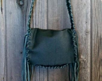 Forest Green leather handbag , Boho handbags , Green leather Purse , Handmade leather bags , Designer bags ,Fringed leather purses