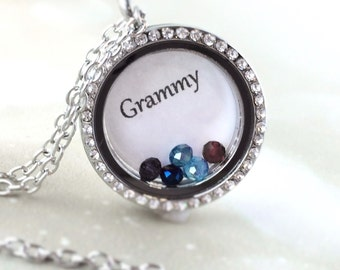 Gifts For Grandma - Grammy Gift - Grammy Necklace - Grammy Jewelry - Grammy Charm - Grandmother Birthstone Necklace