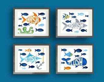 fish bathroom art, children bathroom art,  bathroom rules print, wash brush flush rules