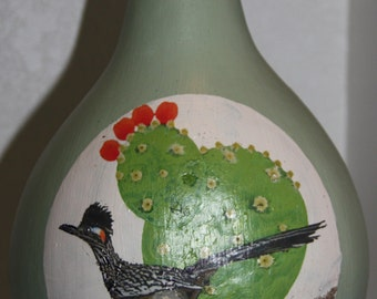 gourd birdhouse with roadrunner and cactus