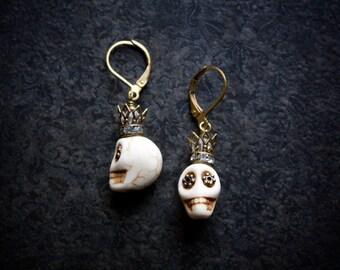 Sugar Skull Earrings Brass Crown Day of the Dead Dia de los Muertos Halloween Vintage Antique Boho Voodoo Rhinestone Flower Eyes Crystal