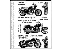 Darkroom Door Cling Rubber Stamp Set CLASSIC MOTORCYCLES Enjoy The Ride