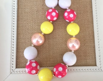 Pink and Yellow Chunky Necklace, Pink Lemonade Party, Chunky Necklaces, Toddler Jewelry, Girls Bubblegum Necklace, Yellow and Pink Jewelry