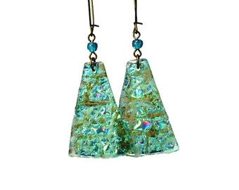 Lightweight Reversible Silver Turquoise Dangle Earrings, Repurposed, Recycled from CDs, Eco Friendly