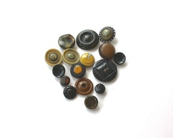 Vintage Buttons Lot of 16 Celluloid Mixed Button Lot Green Gold Brown Black Buttons