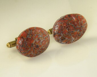 Stunning Red Cell Multi Color Dinasaur Bone Freeform Cufflinks 25x16 mm S-4
