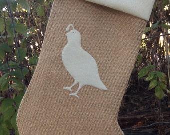 Custom burlap stocking. Woodland Christmas stocking.