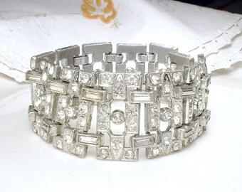 Authentic Art Deco Rhinestone Bracelet, 1920s 1930s Wide Link Baguette Crystal Flapper Bridal Bracelet, Antique Downton Abbey Great Gatsby