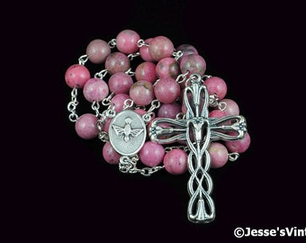 Anglican Rosary Pink Rhodonite Natural Stone Prayer Beads Silver Christian Episcopal Rosary Beads