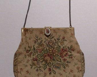 Vintage H. A. & E. Smith French Floral Tapestry Purse With Enamel Closure As Is