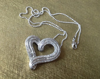 Elegant Diamond Floating Heart Pendant – 1980s Jewelry