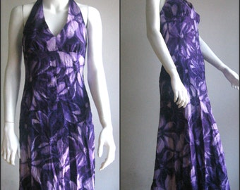 1970s Dress/Purple Halterd/Hawaiian