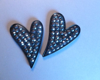 Two Black Heart Magnets