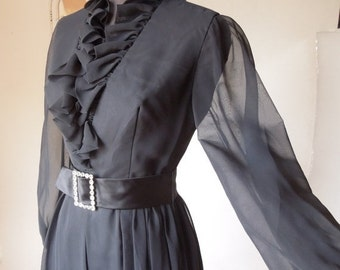 Vintage 60's Cocktail Dress, Black Dress with Ruffles and Rhinestones, Size XS to Small, Sheer, Long Sleeves, Knee Length