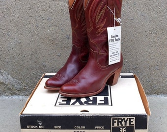 Vintage 80s Frye Leather Cowgirl Boots - Wine - 10 B