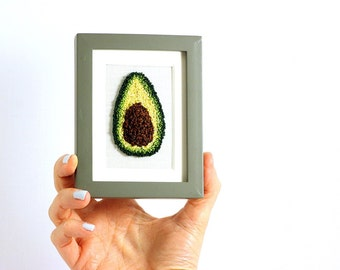 Avocado Matted in a Mini Grey Frame. Punchneedle Embroidery Fiber Art. Home Decor. Green, Brown, Yellow. Avocado art.