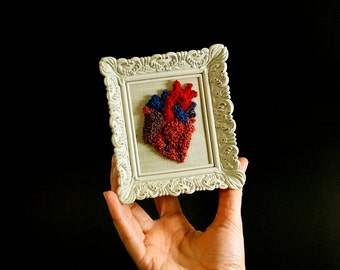 3D Anatomical Heart in a Mini Frame. Punchneedle Embroidery Fiber Art. Home or Office Decor. Heart Surgeon. Wedding Anniversary Gift