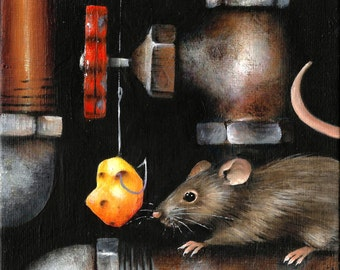 """5"""" X 7"""" Cat n' Mouse n' Pipes   Original Acrylic Painting Small Format Art"""